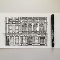 Cartier New Bond Street London. #art #drawing #pen #sketch #illustration #cartier #architecture #building #shop #london #newbondstreet