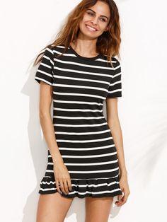 Vestido camiseta rayas volantes-Sheinside