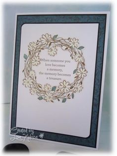 Sympathy Wreath card made with Hero Arts Flower Wreath stamp
