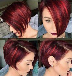 Asymmetrical Pixie Haircut, Short Pixie Haircuts, Pixie Hairstyles, Short Hair Cuts, Short Hair Styles, Red Pixie Haircut, Haircut Short, Asymmetric Hair, Wedge Bob Haircuts
