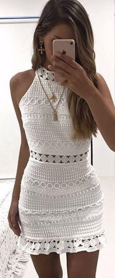 #winter #outfits white crew-neck sleeveless bodycon mini dress