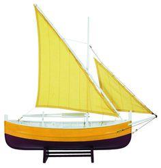 Authentic Models Yellow Biscay Fishing Boat Nautical Sailboat Marine Model SHIP | eBay