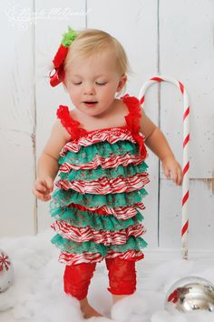 Christmas Romper - Babies First Christmas - Candy Cane Romper - Girls Christmas Outfit - Christmas Dress - Lace Romper. $22.00, via Etsy.