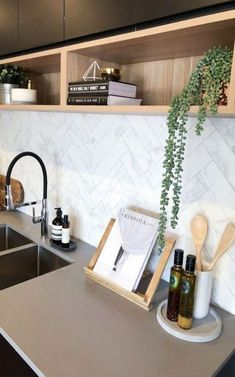 black and timber accent kitchen Matte black and timber accent kitchen. Beautiful kitchen styling and kitchen cabinetry detailsMatte black and timber accent kitchen. Beautiful kitchen styling and kitchen cabinetry details Home Decor Kitchen, Beautiful Kitchens, Kitchen Cabinetry, Interior, Kitchen Remodel, Interior Design Kitchen, Kitchen Styling, Kitchen Tiles, Kitchen Renovation