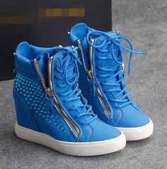 Women's Gothic zip up wedges sneakers lace up Rhinestone trim ankle boots blue #Brandnew #FashionAnkle