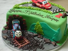 lightning mcqueen and thomas the train cake | Thomas the tank engine VS Lighting Mcqueen! | The Family Cake Company ...