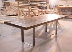 """8' Turkish Steel Conference Tables. Solid wood conference table with 2.5"""" thick table top and uncoated steel metal legs. Farmhouse Conference Table."""