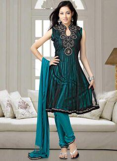 Garceful blue emblished with black net churidar su