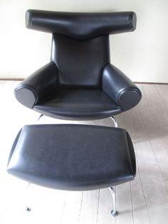 Hans Wegner Ox Chair And Ottoman Lounge Chair Danish Modern Eames Knoll