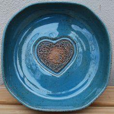 Handmade Bowl Blue Heart Love Ceramic Serving Dining by Bigdogpots
