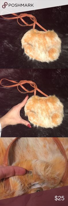 Rabbit Fur Clutch Genuine Rabbit Fur Mini Clutch. I can fit my fist inside. One compartment, clean inside, never worn.   Very cute accessory dusty orange with ombré color. 8x6 in OR 19x16 cm Bags Mini Bags