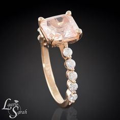 2 carat Padparadscha Sapphire and Prong Set Diamond Shank 14kt Rose Gold Engagement Ring - LS3097 by LaurieSarahDesigns on Etsy