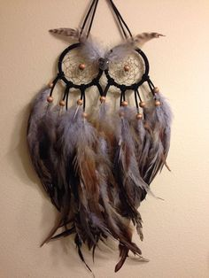 Small Gray Owl Dream Catcher by VictoriasIndicaDream on Etsy - DIY Homer Dreams Catcher, Owl Dream Catcher, Doily Dream Catchers, Small Dream Catcher, Los Dreamcatchers, Diy And Crafts, Arts And Crafts, Diy Tumblr, Gray Owl