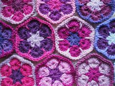 African flowers crochet hexagons by Ruthiejoy, via Flickr