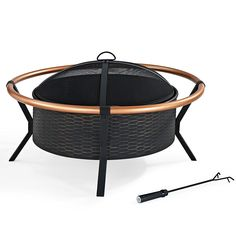 Amazon.com : Crosley Yuma Copper Ring Firepit, Black : Outdoor Fireplaces…