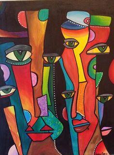 African Abstract Art, Abstract Face Art, Acrylic Painting Canvas, Canvas Art, Primary School Art, Cubism Art, Madhubani Art, Alien Art, Funky Art