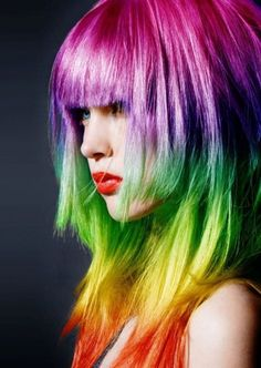 rainbow hair-Looks like a wig. Ombre Highlights, Vivid Hair Color, Cool Hair Color, Dye My Hair, Hairstyles With Bangs, Cool Hairstyles, Long Hair Cuts, Long Hair Styles, Directions Hair Dye