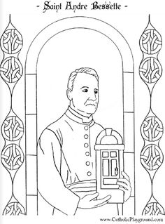 Saint Andre Bessette Canadian Catholic saint coloring page.  Feast day is January 6th.