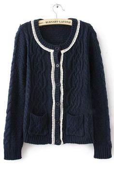Navy Long Sleeve Hollow Pockets Cardigan Sweater