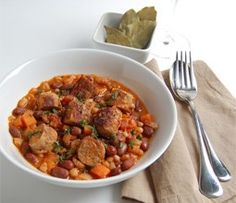 A French stew with pork sausages, haricot beans, borlotti beans, carrots and tomatoes.