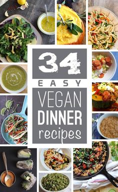 For when we cook at home - A resource of easy vegan dinner recipes to save money and eat healthier. Vegan entrees, soups, pasta dishes, and more vegan dinner ideas. Easy Vegan Dinner, Vegan Dinner Recipes, Raw Food Recipes, Veggie Recipes, Vegetarian Recipes, Cooking Recipes, Healthy Recipes, Delicious Recipes, Easy Recipes