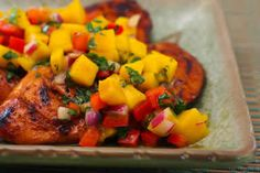 Grilled Lime and Chile Chicken with Mango and Red Bell Pepper Salsa; I love the flavors in this chicken! [from Kalyn's Kitchen] #GlutenFree  #SBDPh2
