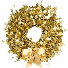 PHILIPPA CRADDOCK Decadent gold Christmas wreath ($250) ❤ liked on Polyvore featuring home, home decor, holiday decorations, holiday door decorations, gold home accessories, gold home decor, white home decor and british home decor