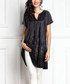 Loving this Charcoal Scroll-Print Notch Neck Tunic on #zulily! #zulilyfinds