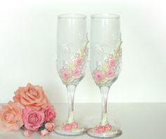 Hand Decorated  Wedding Anniversary Champagne by JoliefleurDeco, $51.00