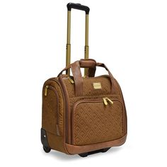 Amazon.com | Adrienne Vittadini Quilted Wheeled Under seat Weekender With Workbook Sleeve (Toffee) | Carry-Ons