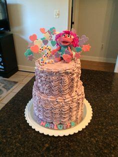Abby Cadabby cake Elmo Birthday, 4th Birthday Parties, Birthday Ideas, Sesame Street Birthday Cakes, Elmo And Friends, Baby Bash, Minnie Mouse Party, First Birthdays, Cupcake Cakes