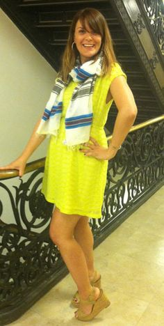 we like our stripes paired with a bold yellow dress.