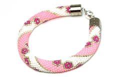 Bead Crochet Bracelet Gift for Gift For Women Trendy Bangle Bracelet Minimalist Bracelet Beaded Bracelet Floral Design Bright Pink White