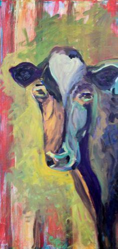 """How Now Rainbow Cow""...(18x36)...$375.00 Hope you enjoy:)...Ann Lutz...SOLD."