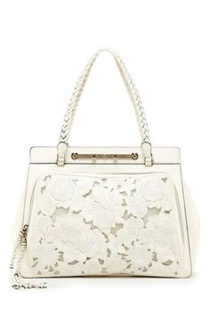 "Valentino ""Leather Embroidered Satchel""  in Ivory."