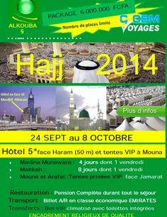 emailing tourisme religieux pélerinage à la Mecque Haj 2014 organisé par CCBM Voyages août 2014