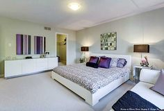 Shades of purple master bedroom