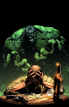 Bruce Banner deals with the Hulk by Mike Deodato Jr.