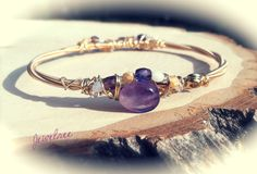 Amethyst with Glass Bead Crescent GUITAR STRING Bangle - February Birthstone, Sixth Anniversary Stone. Recycled, Musically Inspired Adornment...