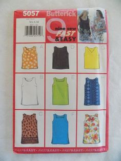 Butterick Misses' Top 9 Sew Fast and Easy Size XS-S-M New Factory Folded Pattern #Butterick #Pullover