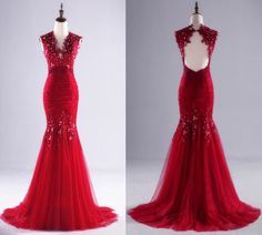 Appliques Beading Real Made Mermaid Charming Prom Dresses,Long Evening Dresses