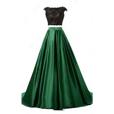 Green Ball Gown Scoop Neck Lace Satin Sweep Train Open Back Two Piece... ($149) ❤ liked on Polyvore featuring dresses, gowns, long evening dresses, green lace dress, long prom gowns, long evening gowns and prom gowns
