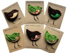 'a little bird told me' felt brooch by these charming things… Felt Crafts, Fabric Crafts, Sewing Crafts, Sewing Projects, Felt Projects, Fabric Brooch, Felt Brooch, Brooch Pin, Textile Jewelry