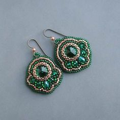 Beaded Earrings. I would like to try to make something like this. Maybe using beaded embroidery?