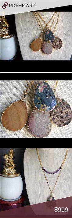 "Reduced Gold Jasper Stone Pendant Necklaces One of a kind - literally only 1 of each made - gorgeous natural Jasper and Gold pendant necklaces from Function & Fringe! Each beautiful natural jasper stone is gold plated around the edges and hangs from a 30"" gold plated chain finished with Function & Fringe's signature gold plated feather charm. Select your necklace from the last photo - you will receive the exact necklace pictured next to the number you select! For clarification, I have also…"
