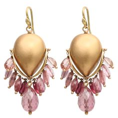 GABRIELLE SANCHEZ Drop Earrings.Pair of Matte finish 18kt Yellow Gold Ovoid Earrings with faceted Tourmalines