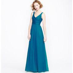 HEIDI GOWN IN SILK CHIFFON, long Blue Bridesmaids dress