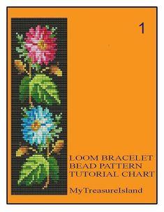 Bead Loom Floral Border 1, 2, 6 Multi-Color Bracelet Patterns PDF
