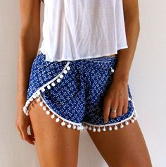 Pom Pom Shorts - Cobalt Blue & White Daisy Print with White Pom Pom Trim - lightweight chiffon