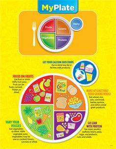 Promote healthy eating habits with this colorful and informative chart. It introduces the USDA's MyPlate icon, shows examples of food within each food group, and includes tips for making healthy food choices.